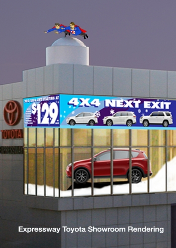 Outdoor Advertising – Expressway Showroom Rendering